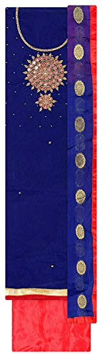 Blue and Pink Chanderi Silk Handwork and Embroidered Unstitched Churidar Dress material for women