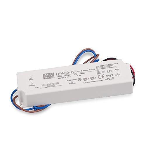 LED Netzteil Trafo Mean Well LPV-60-12 Schaltnetzteil, 12V / 5A / 60W IP67 LED Transformator für LED Beleuchtung -
