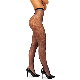 sofsy Netzstrumpfhose - mit hoher Taille - Dessous Nylons [Made In Italy] Blau Navy 3/4 - Medium/Large