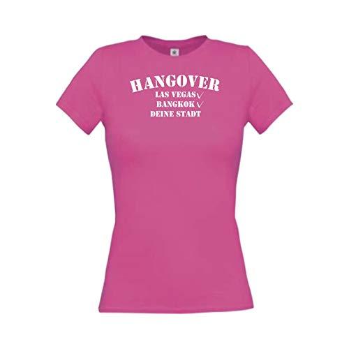 Lady T-Shirt Junggesellinnenabschied, wähle deine Stadt selbst aus, pink, M -