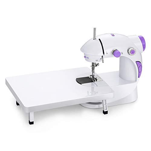 EletecPro Nähmaschine Haushaltsgeräte Mini Nähmaschine mit Elektrisches+Fußpedal Kompaktnähmaschine Einzelne Nadel gerade Linie regelbarer Nähgeschwindigkeit Sewing Machine (Lila)