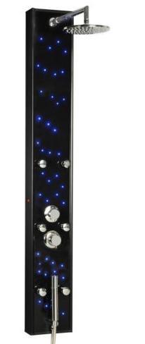 Eisl de diseño de una columna de ducha para colgar con iluminación LED de aluminio de colour negro con frontal de cristal ORSP-8888B