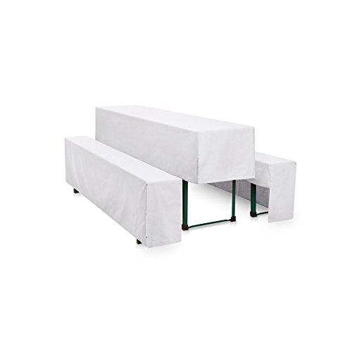 Hussen-Set 220x50 cm + 2x 220x25 cm, Weiß, Polyester, pflegeleicht, gewebt, langlebig, bügelfrei, für Festzeltgarnitur, Überwurf, Husse, 3 tlg, halblang