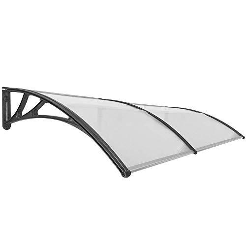 Primematik - pensilina tettoia in policarbonato per porta o finestra per esterno nero 200x100cm