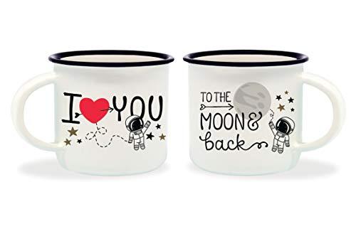 Legami To The Moon & Back Tazzine da caffè, Bone China, Multicolore, 5.5x5.5x5 cm, 2 unità