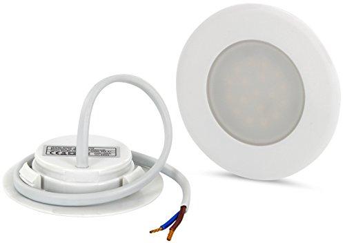 LED Slim Einbaustrahler 230V - für Schalterdose 60mm - eingebauter LED Trafo (warmweiß (3000 K)) (Draht-abdeckungen Für Wand)