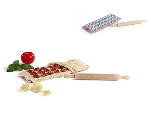 Ravioli-Backform Ravioliformer mit Teigrolle Nudel-Maker (Nudelholz, Pasta-Form, Maultaschen-Former, Alu, 24 Eckige Teigtaschen)