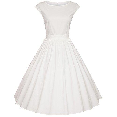 iHAIPI - Damen Audrey Hepburn 50s Retro Vintage Bubble Skirt Rockabilly Swing Evening Kleider Weiß / Schwarz (04. EU 40 (Herstellergröße:L), Weiß) (Rock N Roll Thema Partei Kostüm)