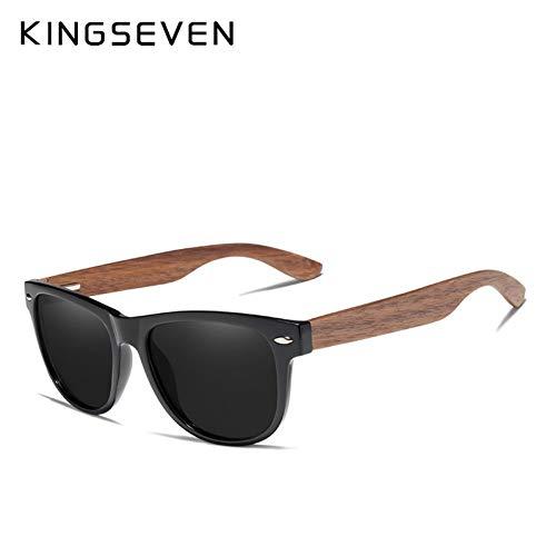 BUYAOAQ Schwarze Walnuss-Sonnenbrille Holz Polarisierte Sonnenbrille Herren Uv-Brille