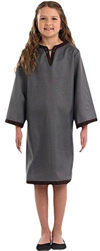 erdbeerloft - Mädchen Kostüm Karneval Historisch Angelsächsin Sachse Kleid, Grau, Größe 116-128, 6-8 Jahre