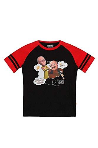 Motu Patlu Boys' Plain Regular Fit T-Shirt (MPPBSL0194_Black_4-5 Years)