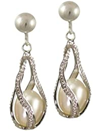 Mesmerise White Freshwater Pearl Drop Screw Back Clip On Earrings With Gift Box
