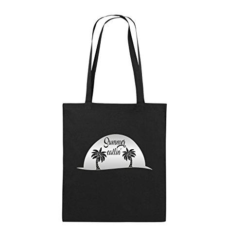 Comedy Bags - Summer callin - PALMEN - Jutebeutel - lange Henkel - 38x42cm - Farbe: Schwarz / Pink Schwarz / Silber