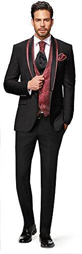 Herren Anzug - 8 teilig - Schwarz Bordeaux Rot Designer Hochzeitsanzug TOP ANGEBOT NEU PC_10 (48)