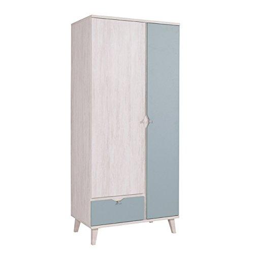 Mirjan24  Drehtürenschrank Memone TM07 mit 2 Türen und Schublade, Kleiderschrank mit Kleiderstange, Elegantes Schrank für Jugendzimmer, Schlafzimmer (Eiche Weiß/Dusk Blue) -