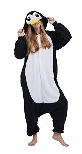 Pinguin Kostüm Frauen - SAMGU Adult Pyjama Cosplay Tier Onesie Body Nachtwäsche Kleid Overall Animal Sleepwear Erwachsene Pinguin L