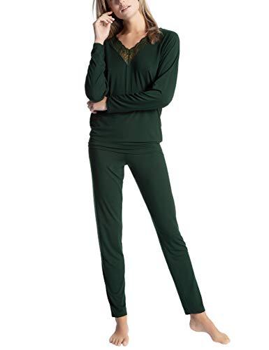 Calida Damen Cosy Glam Zweiteiliger Schlafanzug, Grün (Scarab Green 649), 48 (Herstellergröße: L)