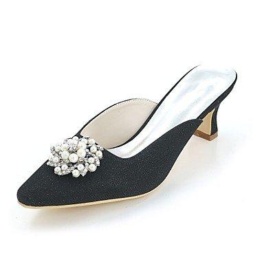 Wuyulunbi @ Women's Shoes Glitter Printemps Été Pompe De Base Serrure De Mariage Talon Carré Orteil Chaussures Strass Imitation Perle Pour La Réception De Mariage Et Le Soir. Noir