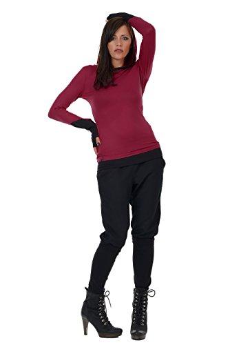 Langarmshirt Damen Hoodie schwarz / Kapuzenshirt / Frauen Shirt mit Kapuze und Daumenloch Armstulpen...