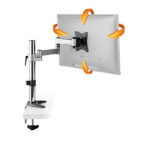 Gas-lift-tisch (RICOO Universal Monitor Halterung TS0711 Schwenkbar Neigbar Bildschirm Monitorhalterung Tischhalterung LCD LED TFT Curved 4K Bildschirmhalterung VESA 75x75 100x100 33-69cm 13-27 Zoll Silber Grau)