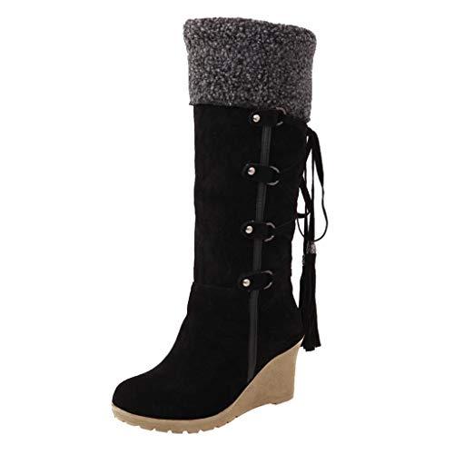 DOLDOA Damen Stiefel, Frauen Schnürstiefeletten mit dem Schleifen mit Quasten hohe Stiefel Ärmel Keile Schneeschuhe Schwarz, gelb, beige
