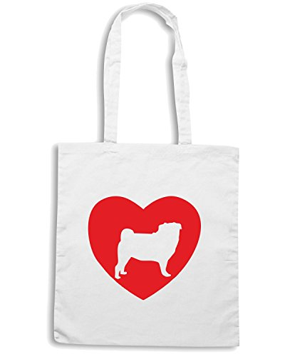 T-Shirtshock - Borsa Shopping CIT0186 Pug Love Bianco