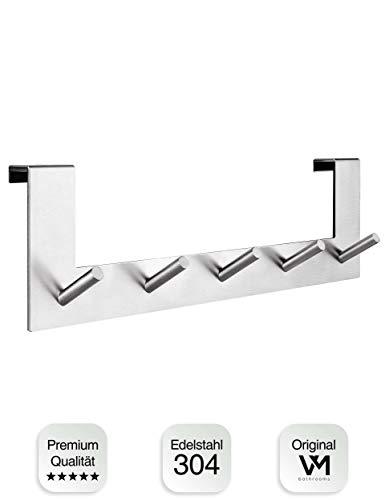 VMbathrooms Premium Türgarderobe mit einzigartigem Haken Design - Türhakenleiste für Standard Türfalz bis 2,1cm + Gratis E-Book