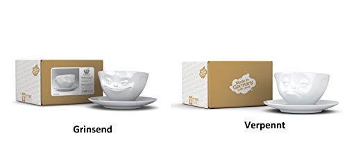 FIFTYEIGHT PRODUCTS 2X Fiftyeight TV Tassen Kaffee Tasse Weiss mit Untertasse (Ø15cm) 'Grinsend +...