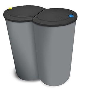 BigDean Doppel-Mülleimer 2x25L 50L groß – Grau mit weißem Druckknopf-Deckel – für Mülltrennung – 2-Fach Trennmülleimer…