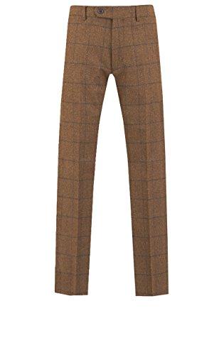 Dobell Herren Braun Karierte Tweed Hose mit Geradem Bein Flache Front, Braun, 46 (Bein Tweed Hose)