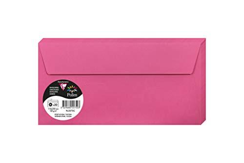 Clairefontaine 5575C Packung mit 20 Umschläge Pollen (in Format DL, 110 x 220 mm) 120 g fuchsia - Hot Einladungen Geburtstag Pink