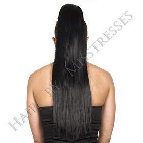 Hair By MissTresses Noir Queue de cheval postiche droite Cordon de serrage Sabot haute température Fibre 53,3 cm