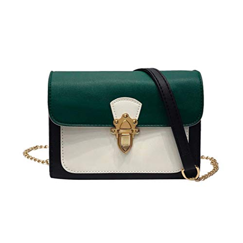 Buckle Flap Bag (Felicove Damen Umhängetasche, Fashion Taschen Patchwork Buckle Flap Bag Crossbody Umhängetasche (Grün))