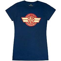 Marvel Captain Marvel Logo Womens Navy T-Shirt