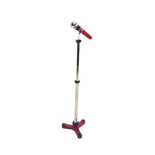 MagiDeal Giocattoli Di Casa Bambole Miniatura Microfono Strumento Musicale Supporto Accessori Decorazione Domestica - Rosso
