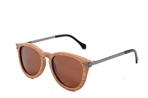 SHINU Vintage runde hölzerne Sonnenbrille mit Metallpfeil-Tempel-Firmenzeichen Frauen-Sun-Gläser-W092(pear-gun, brown)