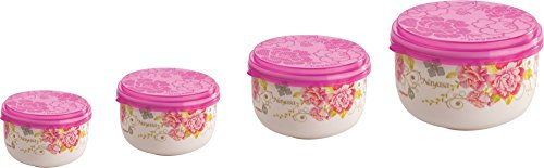 Nayasa Allora Plastic Container Set, 4-Pieces, Pink