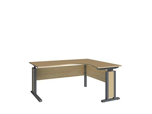 Wellemöbel, JOBexpress, Eck-Schreibtisch 90° 160 cm x 80/140 cm 73310201, Ahorn