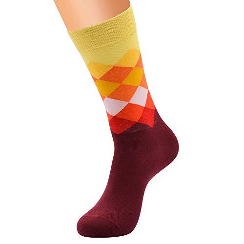 (XuxMim Mode Männer Baumwolle Diamant Muster Farbe Socken Rohr Lässig Komfortable Socken)