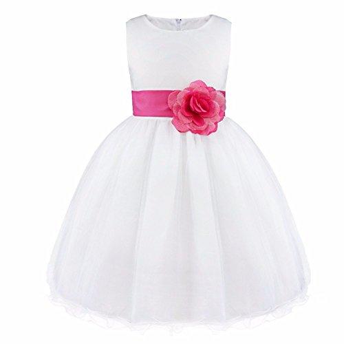 iEFiEL Mädchen Kleid Prinzessin Blume Kleid Weiß Tüll Schichten Hochzeit Festzug Partykleid Kleidung 92-164 Rose 92 (Tüll, Satin, Taufe Kleid)