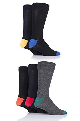 Herren 5 Paar SockShop Kontrast Ferse und Zehen Bambus Socken (40-45, Klassisch Hell/Bng) - Bng Natürlichen