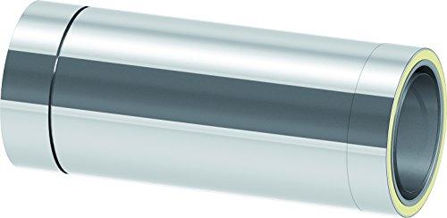 kürzbares Längenelement 500mm Länge mit integriertem Wandfutter für doppelwandige Schornsteine DW; Innen/Außen je 0,5 mm Wandstärke; Ø 130mm Innendurchmesser, Edelstahl