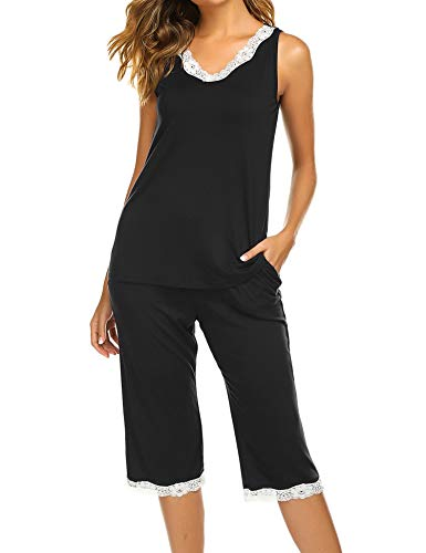 Balancora Damen Einfarbige Schlafanzug Pyjama Set, Zweiteiliger Modal Kurzarm Nachtwäsche Nachthemd Hausanzug S-XXL -