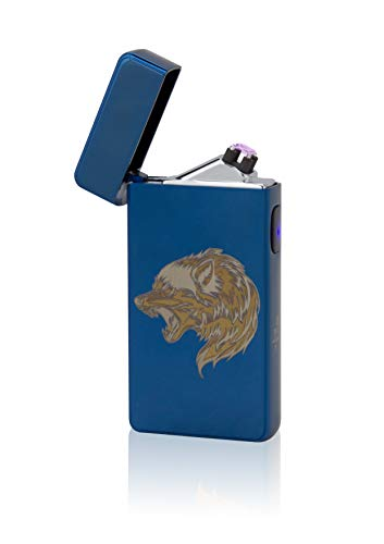TESLA Lighter T13 Double Arc inkl. Motiv Wolf Blau