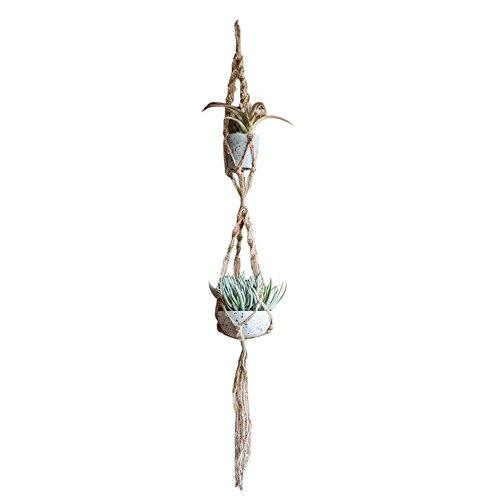 Pb peggybuy Pflanze Kleiderbügel Makramee Pflanzenhänger Blumentopf Halter gardenpot Heben Seil für Innen & Außenbereich Aufhängen Pflanze - Makramee-pot-kleiderbügel