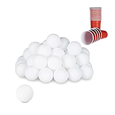Relaxdays GmbH 10021524Bière Pong Lot DE 48balles de Jeu à Boire pour Adulte, Tennis de Table, Vue, UNI