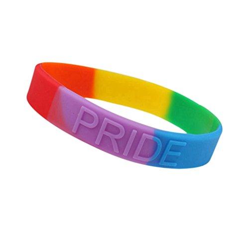 LQZ(TM) Regenbogen Armband Armreifen Schmuck aus Silikon #LGBT Pride Parade (konvex)