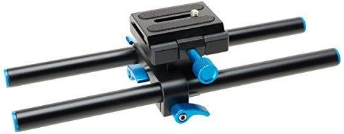 Neewer - Sistema de Soporte Universal de Rail Rod 15mm, Aluminio, High Riser, Cámara DSLR, Placa Base de montaje 25cm con Tornillo 1/4' Placa de zapata rápida para seguir el enfoque, Matte