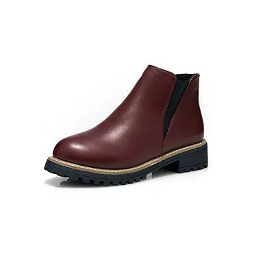 RTRY Scarpe Donna Pu Cadere Combattere Stivali Stivali Tacco Piatto Round Toe Gore Per Casual Black Burgundy US6 / EU36 / UK4 / CN36