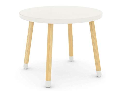 Tavolo per bambini flexa play con gambe in legno di frassino dal colore bianco sempre moderno e piano tavolo rotondo, tavolo di legno per la stanzetta dei bambini, per il gioco e il bricolage
